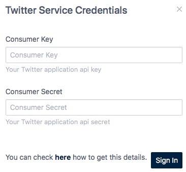 Twitter情報入力画面