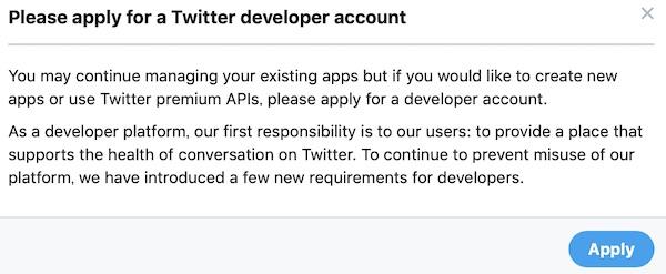 TwitterDeveloperAccountApply画面