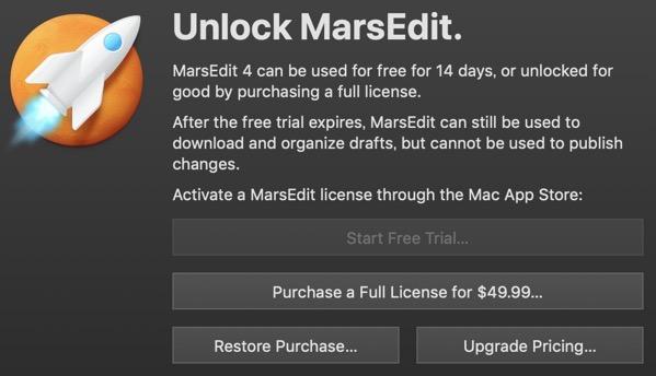 Unlock marsedit